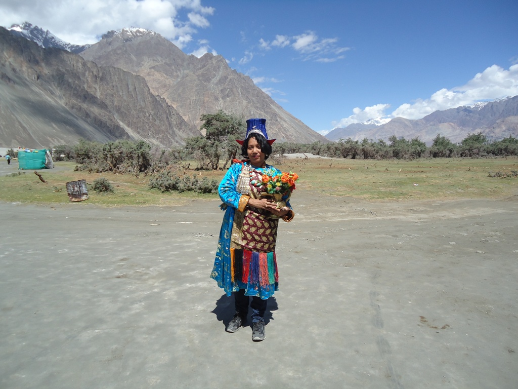 Tourist-Wearing-Local-Costumes-At-Hunder-Desert-In-Nubra-Valley-Ladakh-India