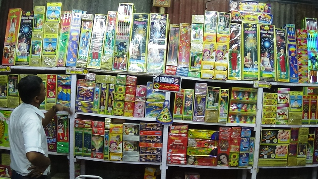 Display of Fireworks at Bazi Bazar 2015 Kolkata